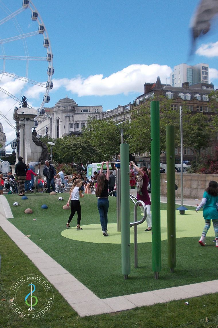 three large chimes in picadilly gardens playground