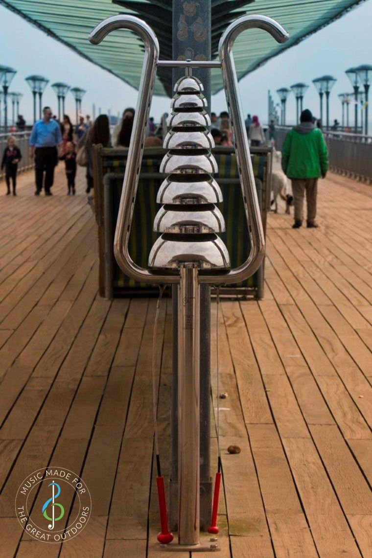 Stainless Steel Bell Lyre Chime on Boscombe Pier