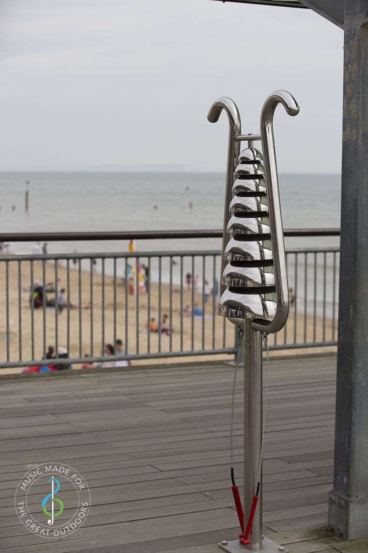 Large Bell Lyre Outdoor Chime on Boscombe Pier