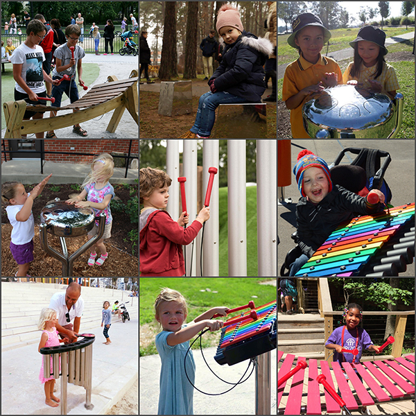 A collage of nine images of children playing outdoor musical instruments in different locations across the world